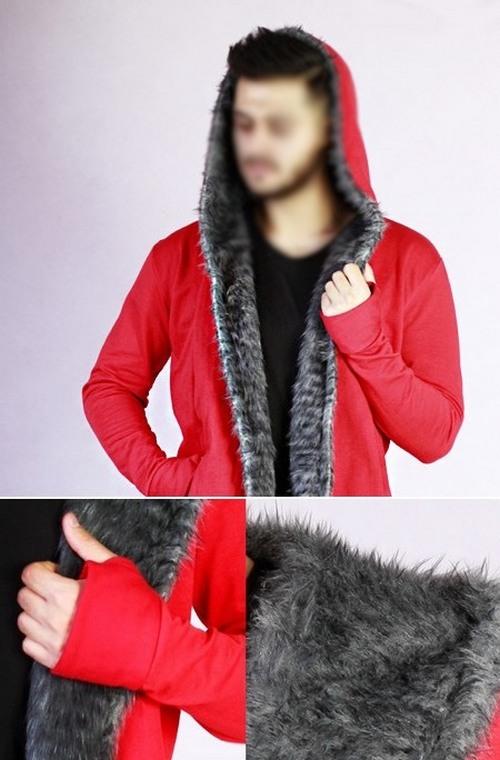 هودی مردانه رنگ قرمز خز دار زمستانی